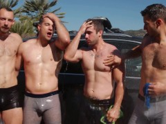 NextDoorBuddies - Naked Car Wash Ends In Group Sex Foursome