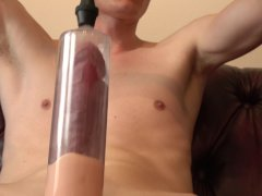 'new XL penis pump stretching out big cock ends in huge cumshot'