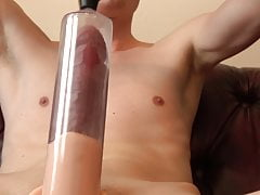 Stretchin new penis pump huge veiny cock