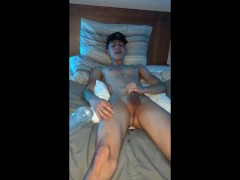 Aggressive fleshlight fuck in bed makes twink smile when|38::HD,63::Gay,2141::Twink