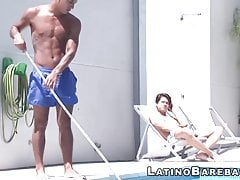 Latino pool boy is about to get drilled bareback
