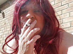 Chastity Sissy Smoking Outdoors