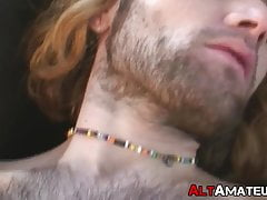 Amateur punk rock stud with long hair solo cock stroking